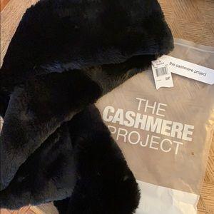 NWT! Black faux rabbit fur scarf